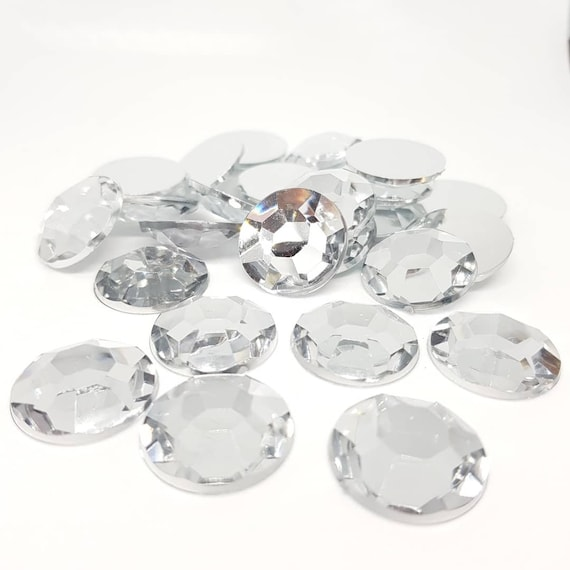 MajorCrafts® 30pcs 20mm Crystal Clear Flat Back Taiwan Acrylic Rhinestones Gems C1