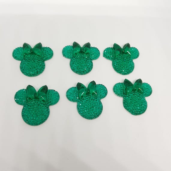 MajorCrafts® 6pcs Jade Green 28mm Flat Back Mouse Head & Bow Resin Rhinestones Gems