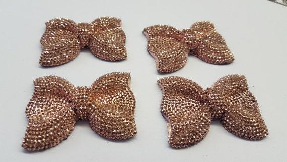 MajorCrafts® 3pcs 54mm Copper Gold Large Flat Back Chunky Resin Rhinestone Embellishment Bows C14