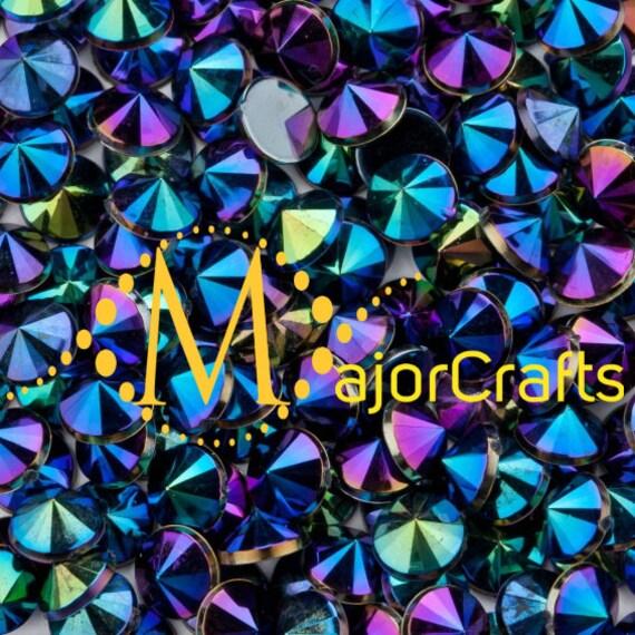 Black AB Flat Back Pointed Rivoli Acrylic Rhinestones Embellishment Gems - C9