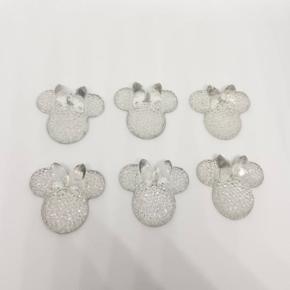 MajorCrafts® 6pcs Crystal Clear 28mm Flat Back Mouse Head & Bow Resin Rhinestones Gems