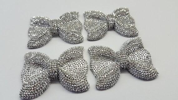 MajorCrafts® 3pcs 54mm Metallic Silver Large Flat Back Chunky Resin Rhinestone Embellishment Bows C13
