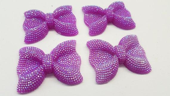 MajorCrafts® 3pcs 54mm Violet Purple AB Large Flat Back Chunky Resin Rhinestone Embellishment Bows C12