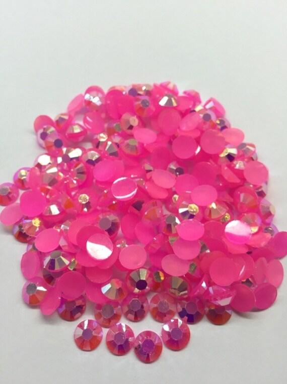 Neon Pink AB Flat Back Round Resin Rhinestones Embellishment Gems C74