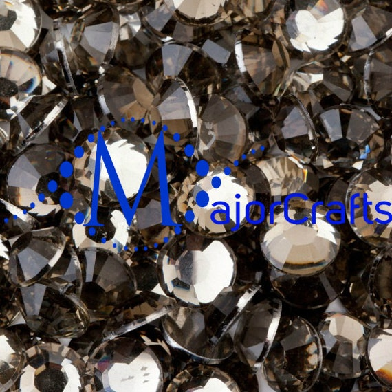 Black Diamond Flat Back Round Resin Rhinestones Embellishment Gems C17