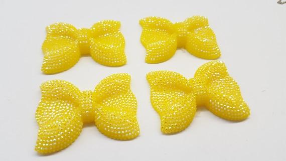 MajorCrafts® 3pcs 54mm Yellow AB Large Flat Back Chunky Resin Rhinestone Embellishment Bows C17