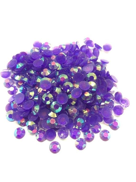 Royal Purple AB Flat Back Round Resin Rhinestones Embellishment Gems C65