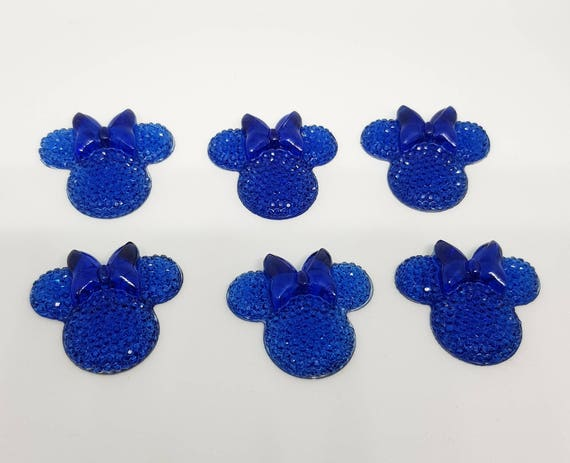MajorCrafts® 6pcs Dark Blue 28mm Flat Back Mouse Head & Bow Resin Rhinestones Gems