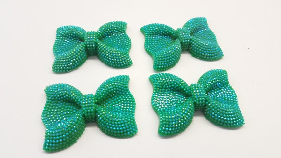 MajorCrafts® 3pcs 54mm Mint Green AB Large Flat Back Chunky Resin Rhinestone Embellishment Bows C8