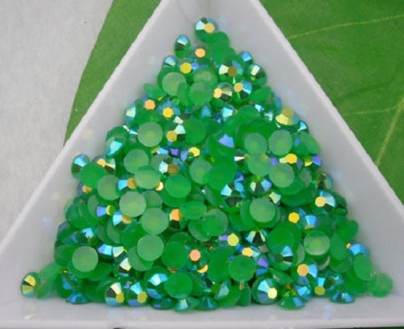 Royal Green AB Flat Back Round Resin Rhinestones Embellishment Gems C79