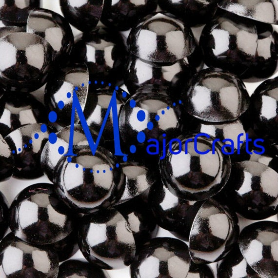 MajorCrafts Jet Black Flat Back Half Round Resin Pearls Craft Embellishment Gems C26