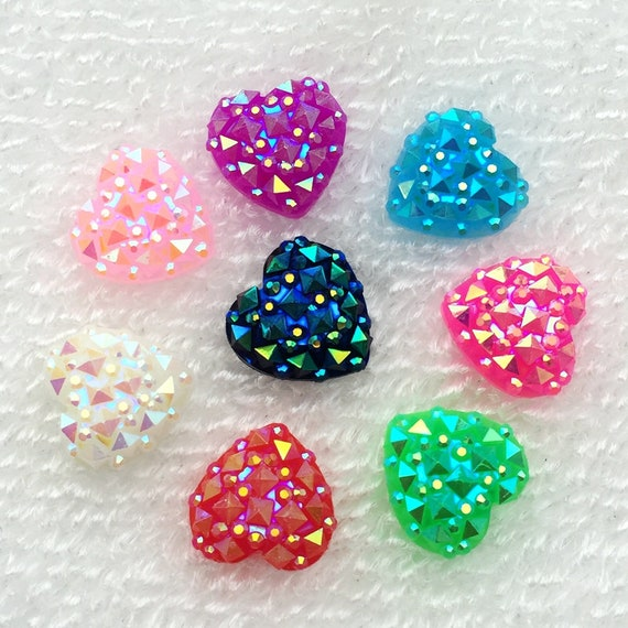 MajorCrafts® 60pcs 12mm Mixed Milky AB Flat Back Heart Resin Rhinestones Embellishment Gems