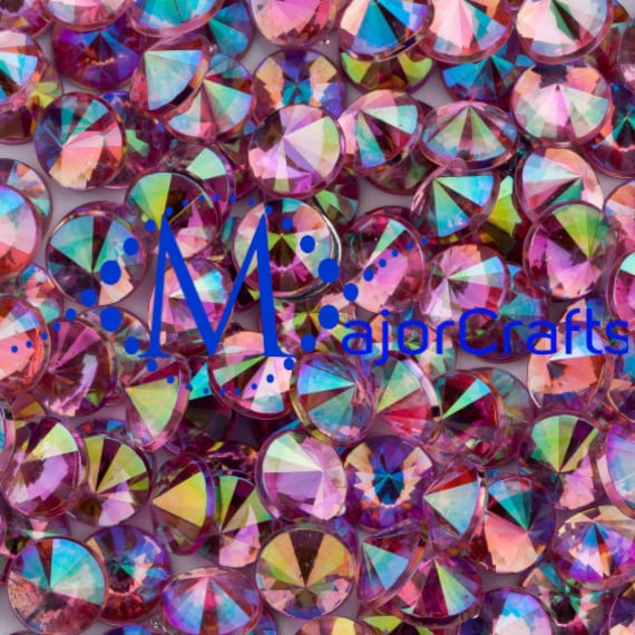 Light Pink AB Flat Back Pointed Rivoli Acrylic Rhinestones Embellishment Gems - C8