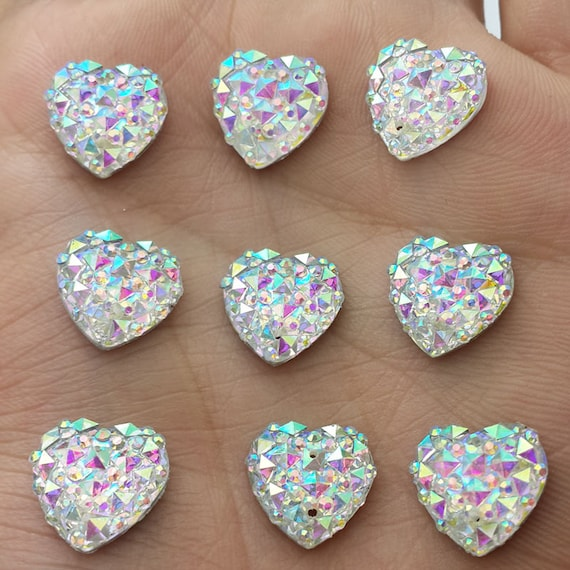 Crystal AB Flat Back Heart Sew On Resin Rhinestones Embellishment Gems