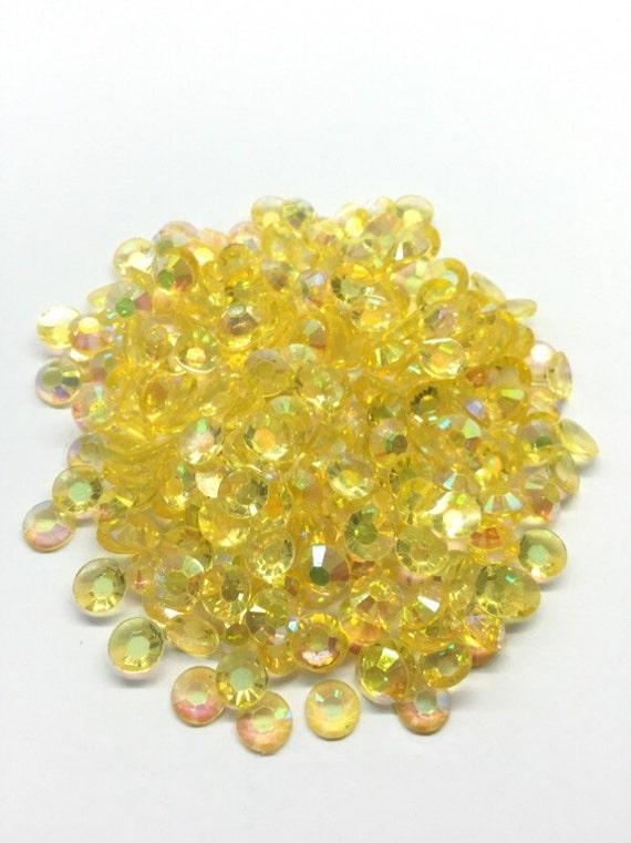 Clear Yellow AB Flat Back Round Resin Rhinestones Embellishment Gems C60