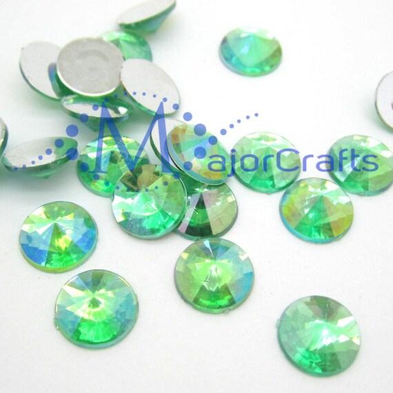 Green AB Round Flat Back Pointed Rivoli  Resin Rhinestones Embellishment Gems C2