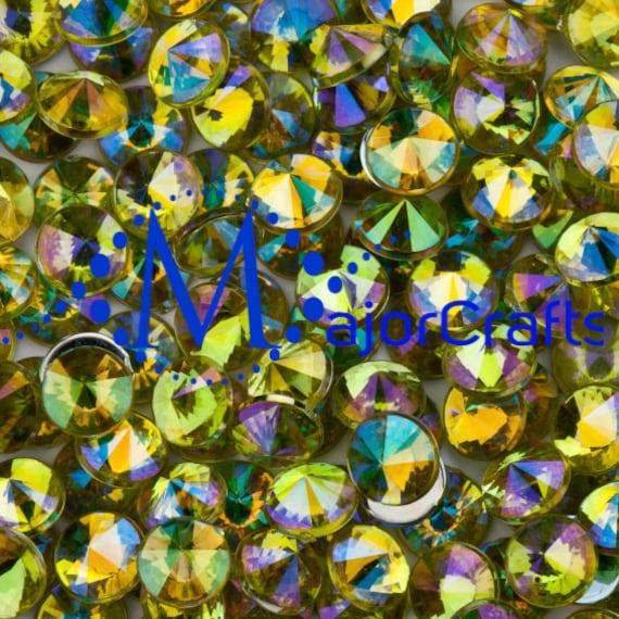 Light Yellow AB Flat Back Pointed Rivoli Acrylic Rhinestones Embellishment Gems - C12