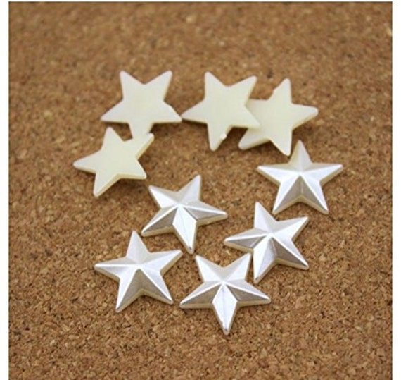 Cream Ivory Flat Back Pyramid Star Shaped Resin Pearls Craft Embellishments
