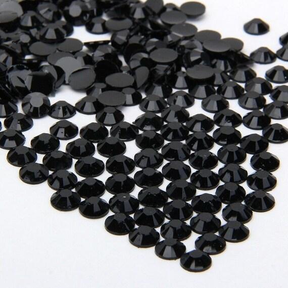Jet Black Flat Back Round Resin Rhinestones Embellishment Gems C30