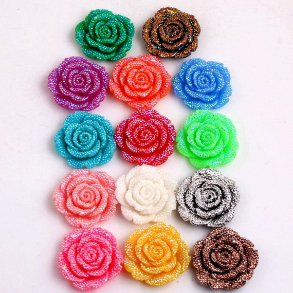 MajorCrafts 6pcs Random Mixed AB 42mm Large Flat Back Chunky Resin Rhinestone Rose Flower Embellishments