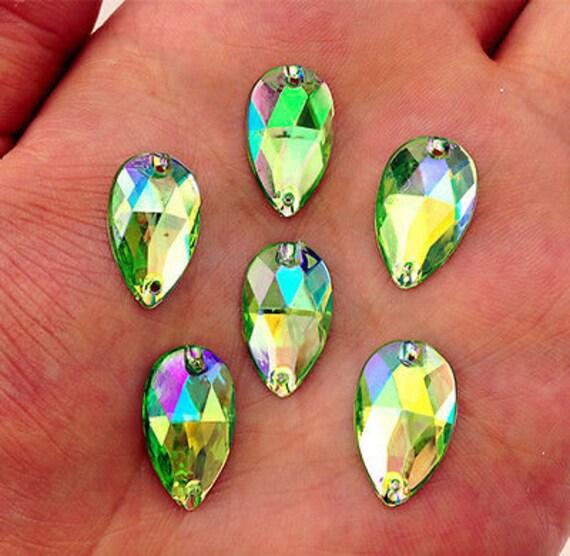 50pcs Light Green AB 18mm*11mm Flat Back Tear Drop Sew On Acrylic Rhinestones Embellishment Gems C05