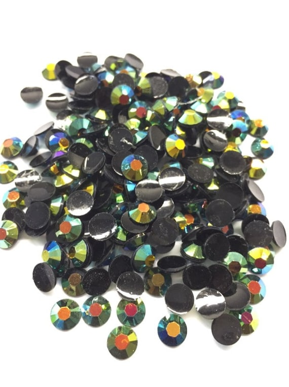 Black Green AB Flat Back Round Resin Rhinestones Embellishment Gems C70