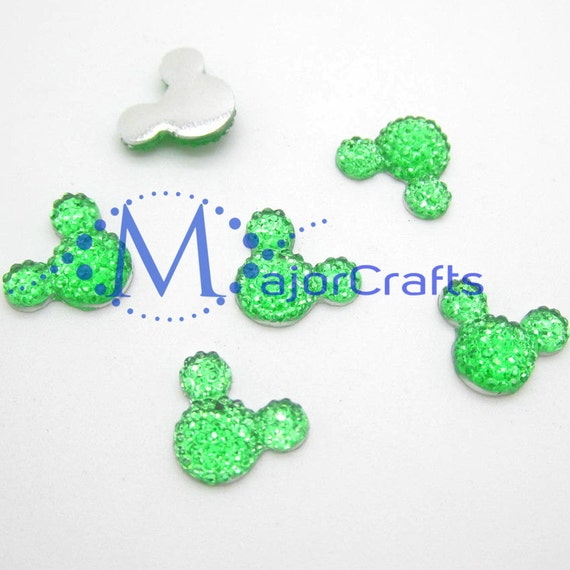 40pcs Green 14mm Flat Back Mouse Head Resin Rhinestones Gems - DIY Craft Embellishments by MajorCrafts