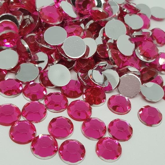 MajorCrafts® 120pcs 10mm Rose Pink Flat Back Taiwan Acrylic Rhinestones Gems C4