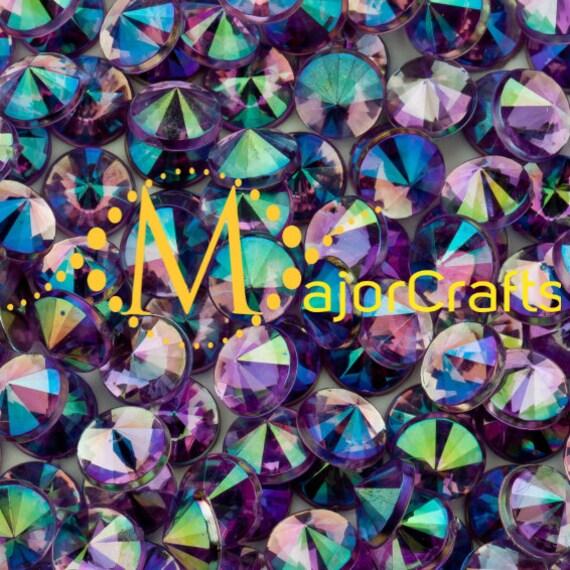 Light Purple AB Flat Back Pointed Rivoli Acrylic Rhinestones Embellishment Gems - C5