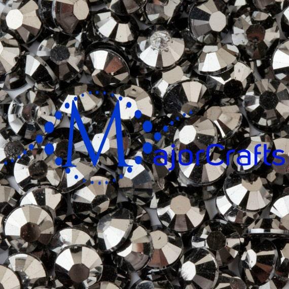 Jet Hematite Flat Back Round Resin Rhinestones Embellishment Gems C31