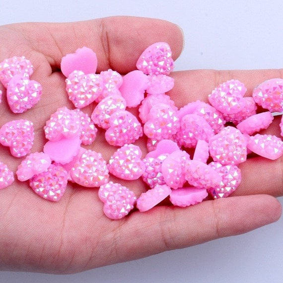 MajorCrafts® 60pcs 12mm Candy Light Pink AB Flat Back Heart Resin Rhinestones Embellishment Gems C04