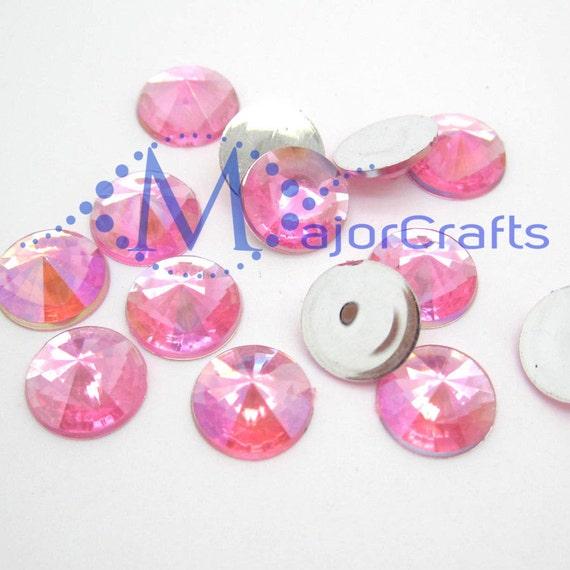Pink AB Round Flat Back Pointed Rivoli  Resin Rhinestones Embellishment Gems C8