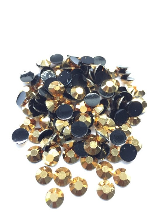Metallic Gold Flat Back Round Resin Rhinestones Embellishment Gems C57