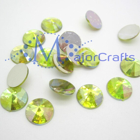 Yellow AB Round Flat Back Pointed Rivoli  Resin Rhinestones Embellishment Gems C5