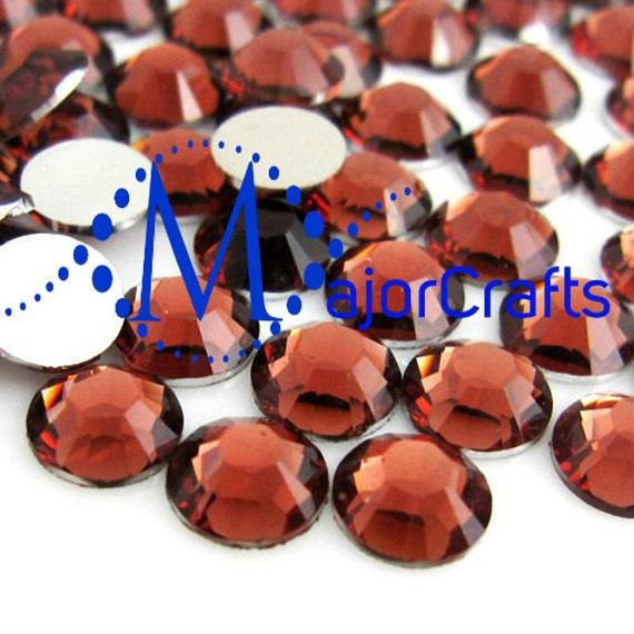 Redwood Brown Flat Back Round Resin Rhinestones Embellishment Gems C39