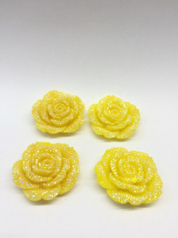 2pcs Yellow AB 42mm Large Flat Back Chunky Resin Rhinestone Rose Flower Embellishments C6