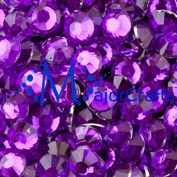 Royal Purple Flat Back Round Resin Rhinestones Embellishment Gems C35