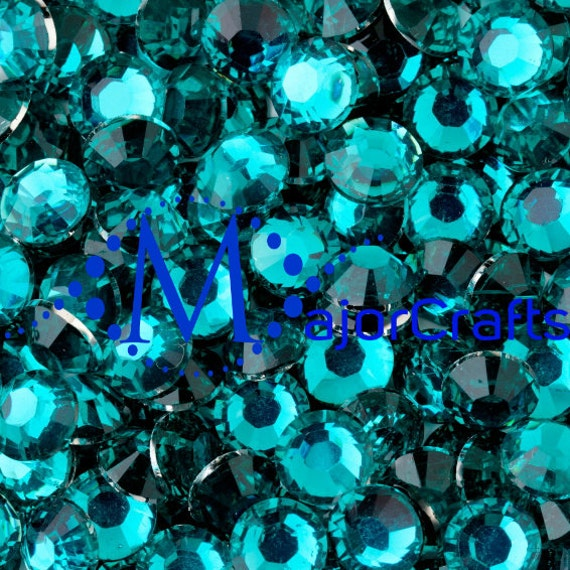 Aquamarine Blue Flat Back Round Resin Rhinestones Embellishment Gems C28