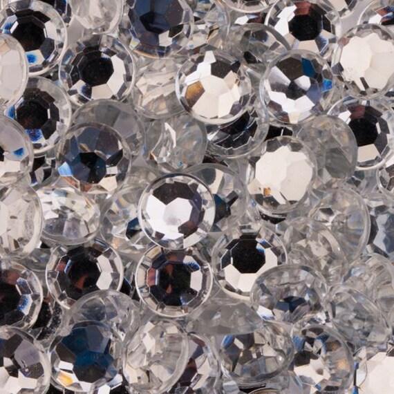 Crystal Clear Flat Back Round Taiwan Acrylic Rhinestones Embellishment Gems - C1