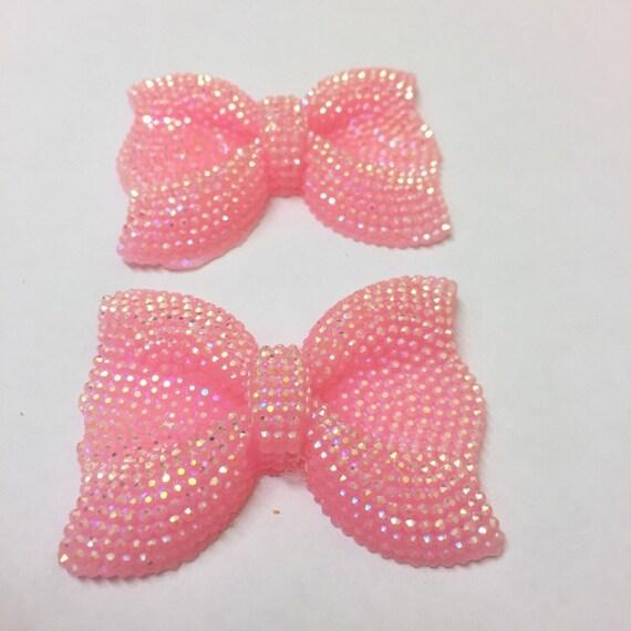 MajorCrafts® 3pcs 54mm Light Pink AB Large Flat Back Chunky Resin Rhinestone Embellishment Bows C2