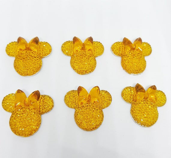 MajorCrafts® 6pcs Yellow 28mm Flat Back Mouse Head & Bow Resin Rhinestones Gems