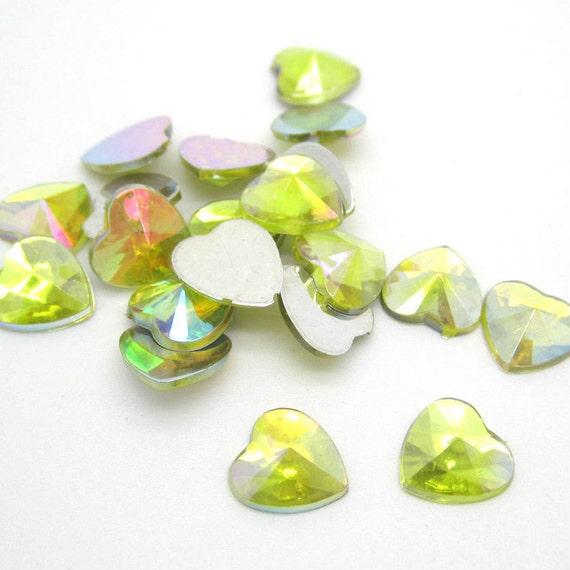 Yellow AB Heart Flat Back Pointed Rivoli Resin Rhinestones Embellishment Gems C12