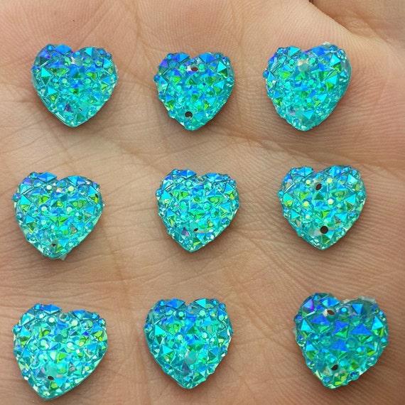 Aqua Blue AB Flat Back Heart Sew On Resin Rhinestones Embellishment Gems