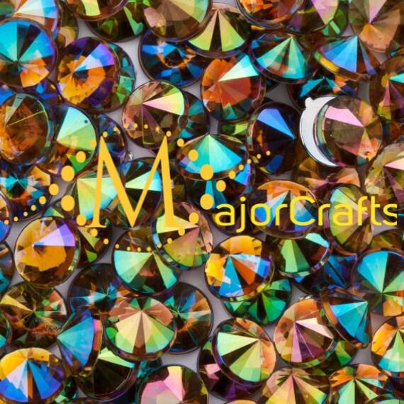 Topaz Brown AB Flat Back Pointed Rivoli Acrylic Rhinestones Embellishment Gems - C4