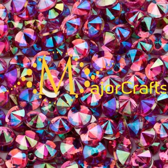 Rose Pink AB Flat Back Pointed Rivoli Acrylic Rhinestones Embellishment Gems - C7