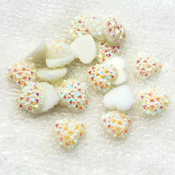 MajorCrafts® 60pcs 12mm White Milky AB Flat Back Heart Resin Rhinestones Embellishment Gems