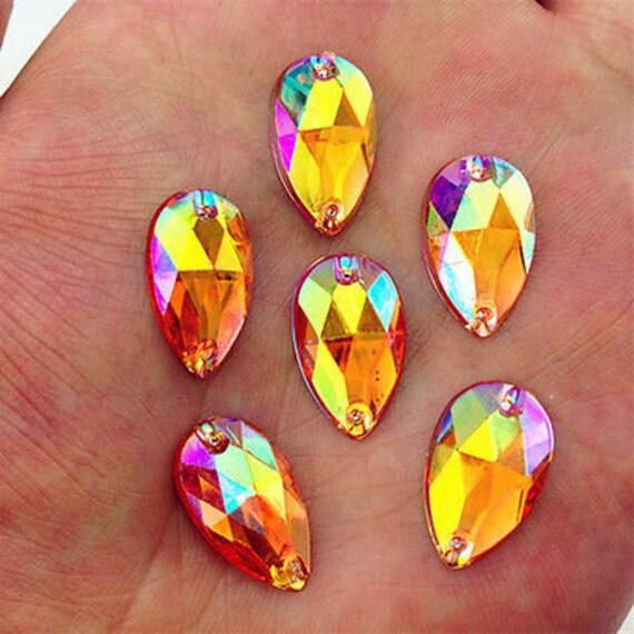 50pcs Orange AB 18mm*11mm Flat Back Tear Drop Sew On Acrylic Rhinestones Embellishment Gems C10
