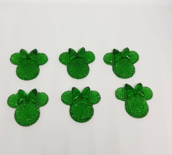 MajorCrafts® 6pcs Royal Green 28mm Flat Back Mouse Head & Bow Resin Rhinestones Gems