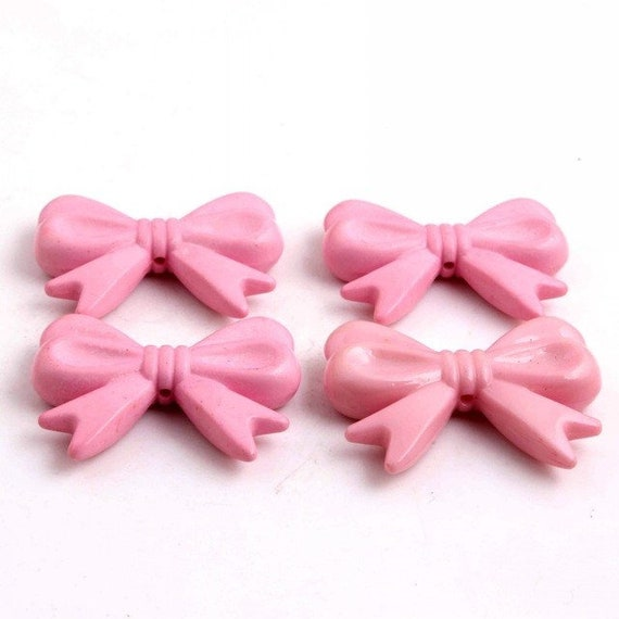 MajorCrafts® 4pcs Pale Pink 46*36mm Large Chunky Acrylic Embellishment Bows C21