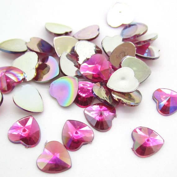 Rose Pink AB Heart Flat Back Pointed Rivoli Resin Rhinestones Embellishment Gems C19